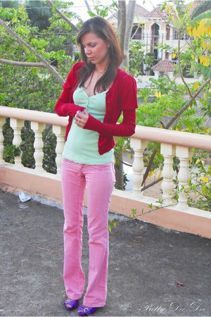 red Stradivarius jacket - pink pants - lime green top - light purple heels