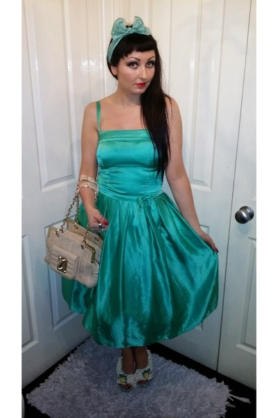 green vintage scarf - satin green Topshop dress - Luella bag