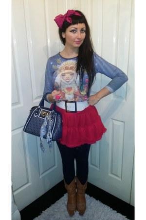 hot pink skater skirt Topshop skirt - navy tote bag DKNY bag
