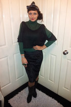 dark green polo neck M&S top - black top Pretty Disturbia top