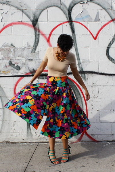 cotton Missoni skirt - bodysuit American Apparel shirt - suede Zara heels