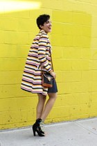 stripes vintage coat - leather Dooney and Bourke bag - suede Zara heels
