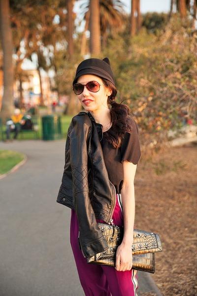 black BCBG hat - black abercrombie and fitch jacket - black BCBG bag
