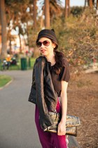 black BCBG hat - black abercrombie and fitch jacket - black BCBG bag