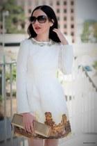white dresslily dress - gold kate spade bag - light brown Gucci glasses