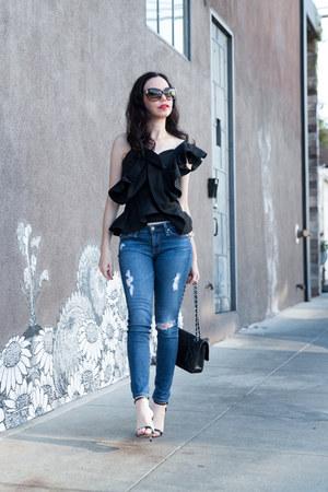 black Alpha and Omega top - blue AG jeans - black Schutz sandals