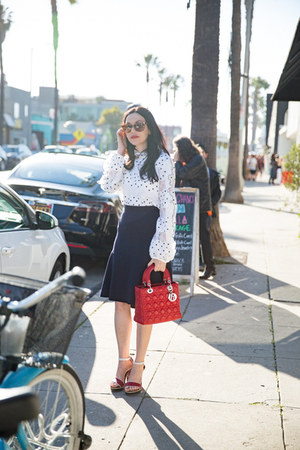 white storets blouse - ruby red dior bag - brown versace sunglasses