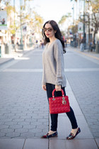 silver Tommy Hilfiger sweater - navy JCrew jeans - ruby red dior bag