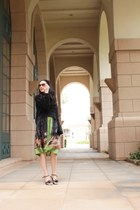 black brandy melville sweater - olive green Anthropologie dress - black BCBG bag