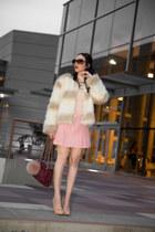light pink Pixie Market sweater - white Raga jacket - crimson tory burch bag
