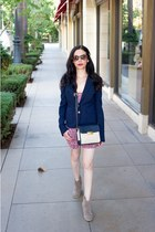 navy JCrew blazer - tan Chicwish boots - navy Tommy Hilfiger bag