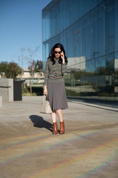 gray joa skirt - brown calvin klein boots - charcoal gray J Crew sweater