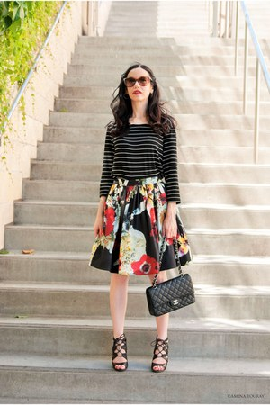 red Alice & Olivia skirt - black DV by dolce vita shoes - black Chanel bag