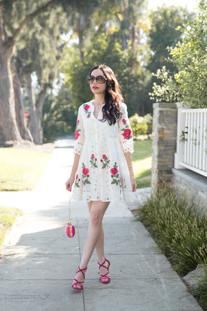 hot pink milly bag - white Dezzal dress - brown Gucci sunglasses