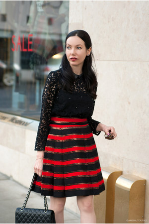 black The Kooples top - black Chanel bag - ruby red Marc by Marc Jacobs skirt