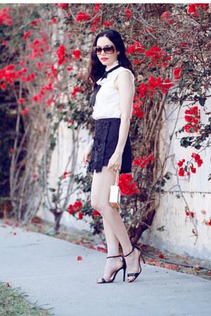 black storets shorts - black asos tie - black Schutz sandals
