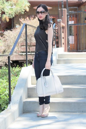 black house of harlow top - blue JCrew jeans - off white coach bag