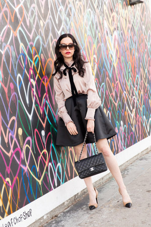 black Nasty Gal skirt - light pink storets blouse - camel Shoes of Prey pumps