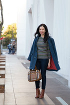 brown Burberry bag - brown calvin klein boots - navy Marc by Marc Jacobs coat