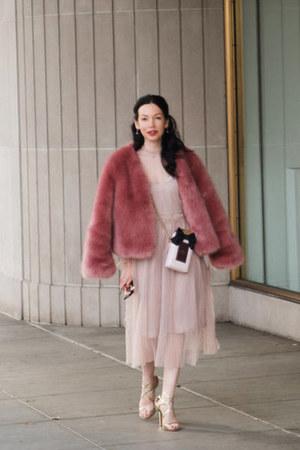light pink kate spade bag - light pink storets dress - pink storets coat