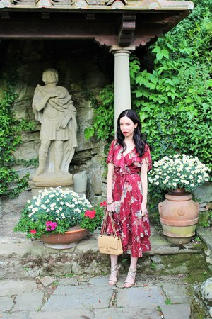 ruby red Shareen Vintage dress - tan Chanel bag - gold Jimmy Choo sandals