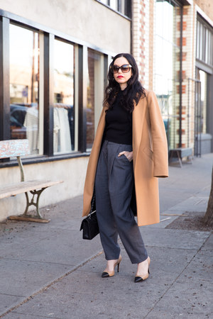camel Zara coat - gray Pixie Market pants - ivory Kiel James Patrick earrings