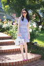 Periwinkle-shein-dress-white-nicole-lee-bag-hot-pink-kate-spade-pumps