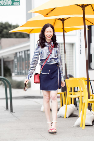 white Tommy Hilfiger shirt - navy storets skirt - red Tommy Hilfiger sandals