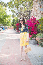yellow Juicy Couture dress - tan Chanel bag - gold Jimmy Choo sandals