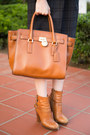 Brown-juicy-couture-boots-navy-zara-dress-tan-dahlia-scarf
