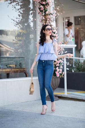 blue Mott & Bow jeans - tan Steve Madden sandals - sky blue storets top