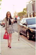 gray Alice & Olivia blazer - ruby red dior bag - black Alice & Olivia blouse