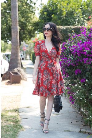 ruby red Ralph Lauren dress - black Chanel bag - brown Oliver Peoples sunglasses