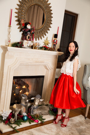 ruby red Chicwish skirt - ruby red Shoes of Prey sandals - white Chicwish top