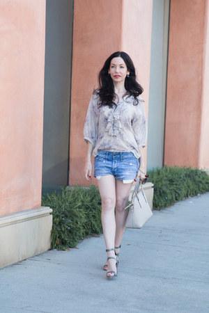 periwinkle Ralph Lauren blouse - heather gray kate spade bag