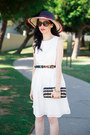 White-tommy-hilfiger-dress-ruby-red-tommy-hilfiger-hat-navy-j-crew-bag