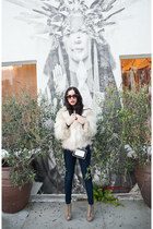 white Raga coat - heather gray BCBG boots - navy JCrew jeans - white Dahlia bag
