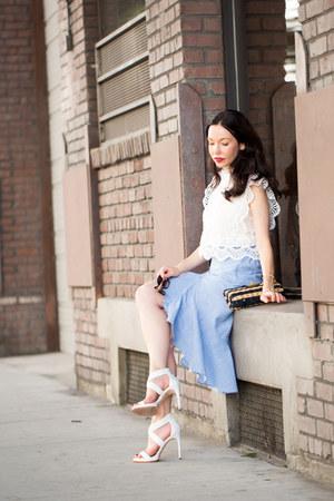 white Chicwish top - sky blue storets skirt