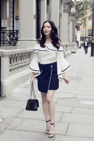 white storets blouse - black Chanel bag - navy storets skirt