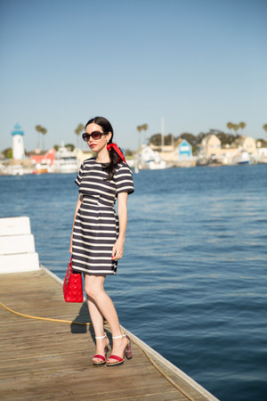 navy H&M dress - ruby red dior bag - ruby red Tommy Hilfiger sandals