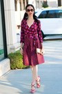 Maroon-diane-von-furstenberg-dress-gold-kate-spade-bag