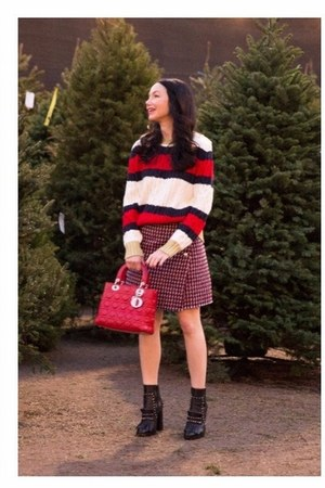 black Tommy Hilfiger boots - ruby red dior bag - brick red storets skirt