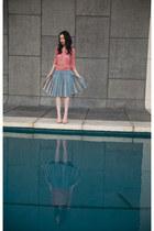 sky blue vintage skirt - salmon Arden B sweater - neutral Pour La Victoire pumps