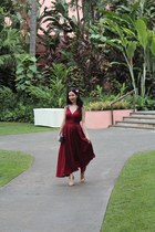 maroon Anthropologie dress - blue Moschino bag - gold dvf sandals