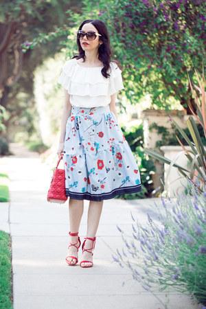 sky blue shein skirt - red Steve Madden sandals