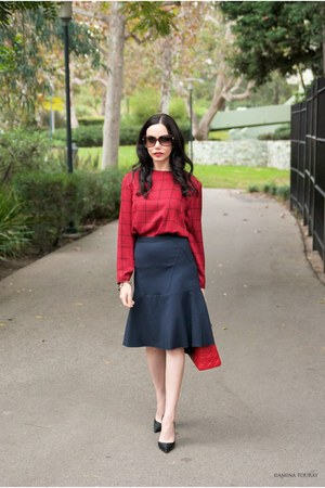 navy Tommy Hilfiger skirt - red dior bag - red Geoffrey Beene vintage blouse