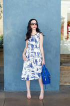 blue eShakti dress - blue JustFab bag - nude Steve Madden sandals