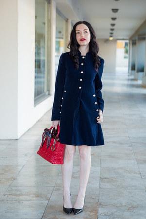 navy StyleWe dress - ruby red dior bag - black Zara heels