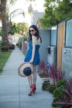 blue denim Tobi romper - navy Tommy Hilfiger hat - navy J Crew bag