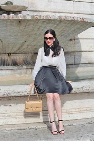 camel Chanel bag - brown Gucci sunglasses - black Nasty Gal skirt